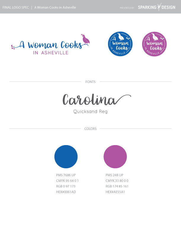 A Woman cooks branding example